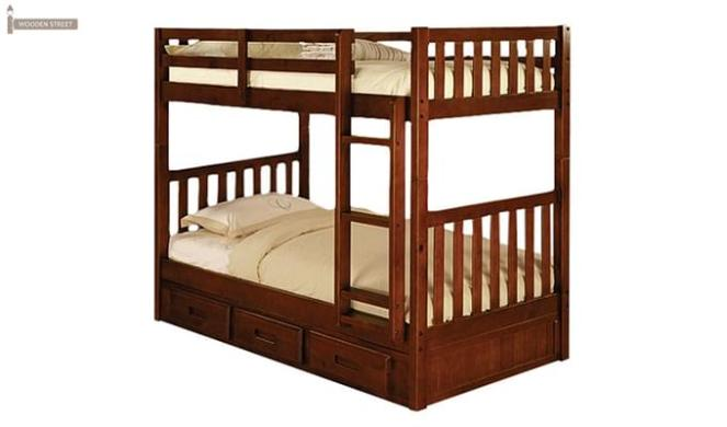 Garfield Bunk Bed (Dark Teak Finish)