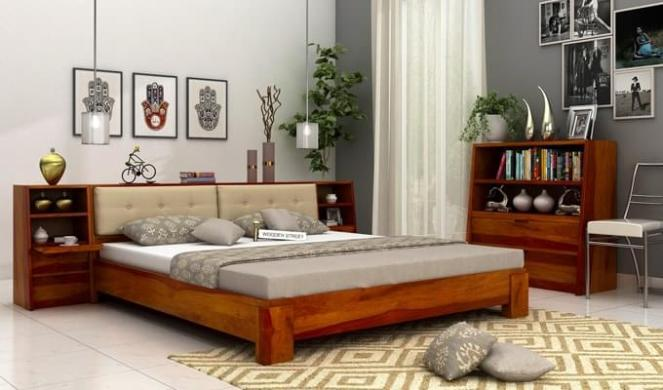 Bolivia Multi Storage Bed (Queen Size, Honey Finish)