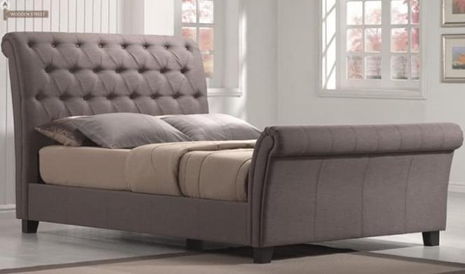 Brendan Upholstered Bed (Grey, Queen Size)
