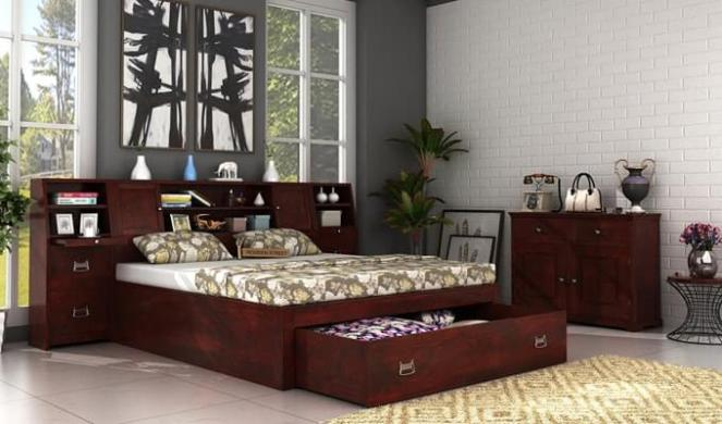 Harley Bed With Storage (King Size, Mahogany Finish)