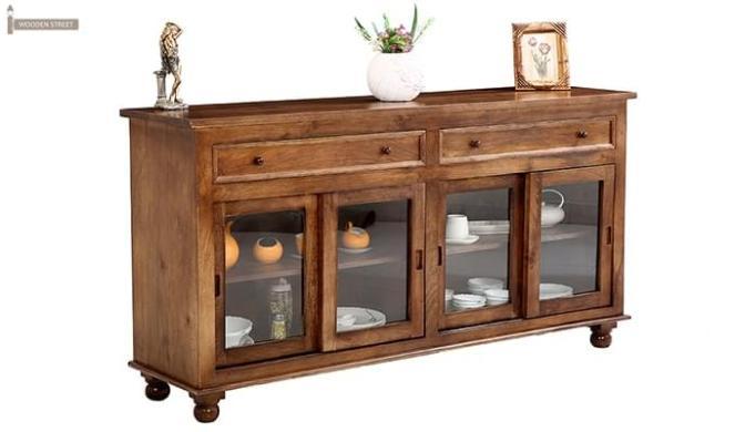 Pryce Kitchen Cabinet (Light Teak Finish)