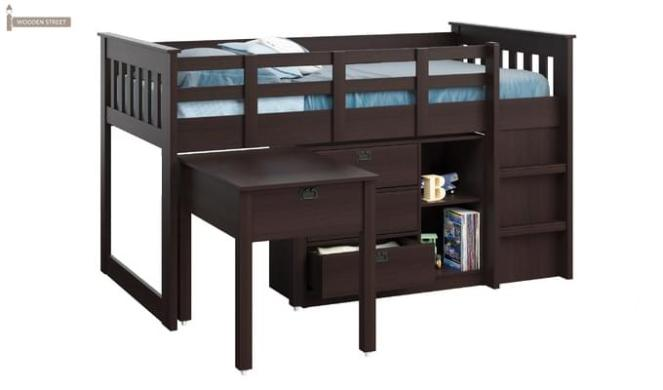 Scrooge Kids Bed With Storage (Mahogany Finish)